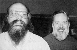 Ken Thompson                                and                                 Dennis Ritchie                                , principal developers of                                 Research Unix
