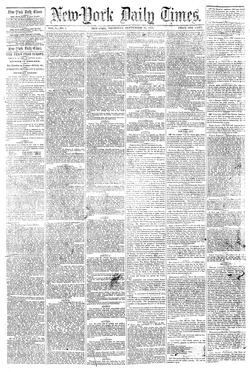 First published issue of  New-York Daily Times  , on September 18, 1851.