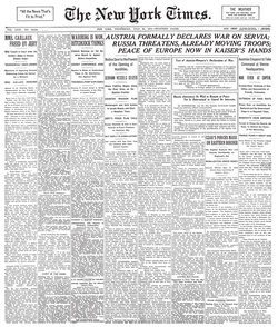 Front page of  The New York Times  on July 29, 1914, announcing  Austria-Hungary  's declaration of  war  against  Serbia