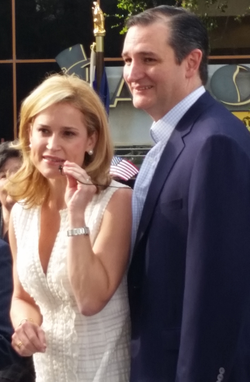 Cruz with his wife, Heidi, at a rally in                                 Houston                                , March 2015