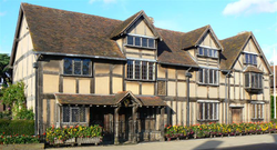 John Shakespeare's house, believed to be  Shakespeare's birthplace  , in  Stratford-upon-Avon