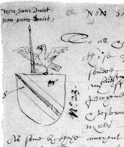 Shakespeare's coat of arms, as it appears on the rough draft of the application to grant a coat-of-arms to John Shakespeare. It features a spear as a  pun  on the family name.