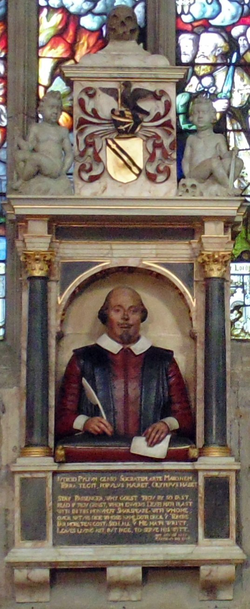 Shakespeare's funerary monument  in Stratford-upon-Avon.