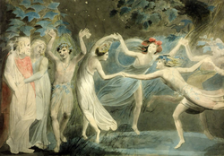 Oberon, Titania and Puck with Fairies Dancing.  By  William Blake  , c.1786.  Tate Britain  .