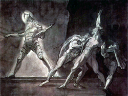 Hamlet, Horatio, Marcellus, and the Ghost of Hamlet's Father.   Henry Fuseli  , 1780–5.  Kunsthaus Zürich  .