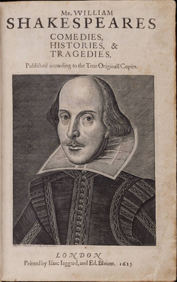 Title page of the  First Folio  , 1623. Copper engraving of Shakespeare by  Martin Droeshout  .