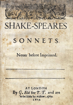 Title page from 1609 edition of  Shake-Speares Sonnets  .