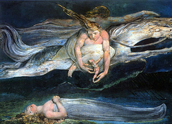 """Pity   by  William Blake  , 1795,  Tate Britain  , is an illustration of two similes in  Macbeth  :  """"And pity, like a naked new-born babe,  Striding the blast, or heaven's cherubim, hors'd  Upon the sightless couriers of the air.""""   [2]"""