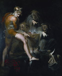 Macbeth Consulting the Vision of the Armed Head.  By  Henry Fuseli  , 1793–94.  Folger Shakespeare Library  , Washington.