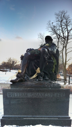 A recently garlanded statue of William Shakespeare in  Lincoln Park, Chicago  , typical of many created in the 19th and early 20th century.