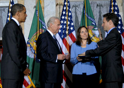 Geithner was sworn in as Treasury Secretary on January 26, 2009
