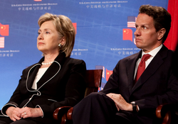 Geithner with Secretary of State Hillary Clinton at the opening session of the first U.S.–China Strategic and Economic Dialogue on July 27, 2009