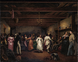 A celebration at a slave wedding in Virginia, 1838
