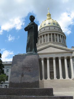 Abraham Lincoln Walks at Midnight, a statue on the grounds of the West Virginia State Capitol.