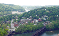 Harpers Ferry (as it appeared in 2005) changed hands a dozen times during the American Civil War and was annexed by West Virginia.