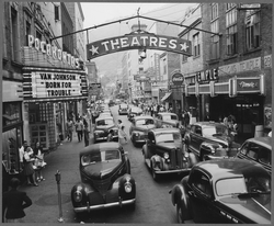 Saturday afternoon street scene, Welch, McDowell County, 1946