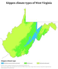 Köppen climate types of West Virginia