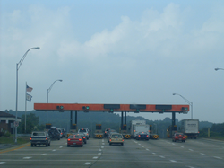 A toll plaza on the West Virginia Turnpike.