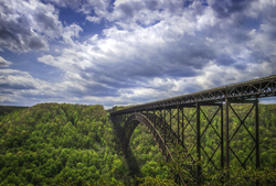 View of the iconic New River Gorge Bridge from the overlook at the north end of the New River Gorge (facing southwards), near Fayetteville.
