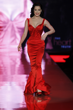 Von Teese on the catwalk at                                 The Heart Truth                                in February 2011