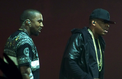 West received early acclaim for his production work on Jay-Z's The Blueprint; the two are pictured here in 2011.