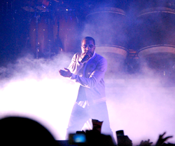 West performing in August 2008 on the                                 Glow in the Dark Tour                                .