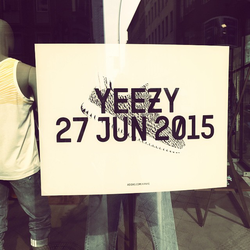 An advertisement for West's 2015 shoe collaboration with                                 Adidas                                , the Yeezy 350.