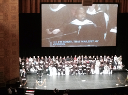 West speaks after receiving an honorary doctorate from                                 SAIC