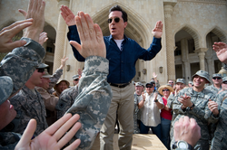 """Stephen Colbert greets troops and civilians at                                 Al Faw Palace                                at                                 Camp Victory                                in Baghdad, Iraq, June 5, as part of his """"Operation Iraqi Stephen: Going Commando"""" tour"""