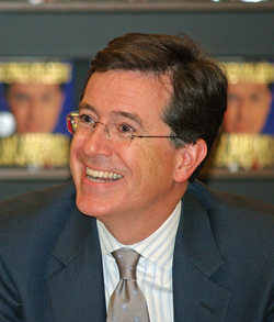 Colbert at the launch of his show's book,                                                   I Am America (And So Can You!)