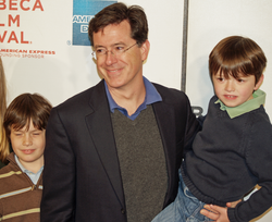 Colbert with his sons, Peter and John, at the                                 Tribeca Film Festival                                in 2008