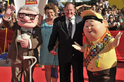 John Lasseter appears with characters from Up at the 2009 Venice Film Festival.