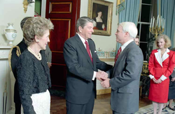 McCain meeting President  Ronald Reagan  with First Lady  Nancy Reagan  at left, March 1987