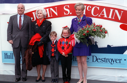 The 1992 christening of  USS John S. McCain  at  Bath Iron Works  , with his mother  Roberta  , son Jack, daughter  Meghan  , and wife  Cindy