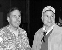 McCain in  Baghdad  with General  David Petraeus  , November 2007