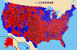 County-by-county results of the election, shaded by percentage won: Obama in blue, McCain in red