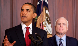 McCain and U.S. President  Obama  at a press conference in March 2009.