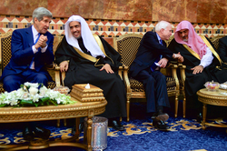 Kerry (far left) and McCain (center-right) with members of the  Saudi  Royal Family after greeting the new King  Salman of Saudi Arabia  , Riyadh, January 2015