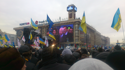 McCain addresses anti-government protesters in  Kiev  ,  Ukraine  , pledging his support for their cause, December 15, 2013