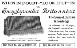 A print advertisement for the 1913 issue of the                                                   Encyclopædia Britannica                                                 .