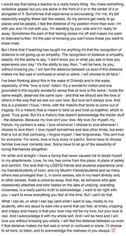 Anna's beautiful essay about teaching in the wake of the Pulse Orlando Shooting (2016).