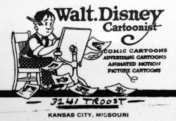 Walt Disney's business envelope featured a self-portrait c. 1921