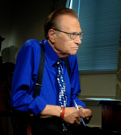 King during a recording of his Larry King Live program at the Pentagon in Arlington, Virginia, in 2006