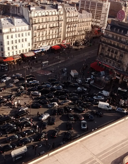 Uber drivers on strike at Montparnasse, Paris, 3 February 2016