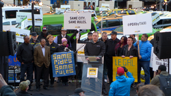 A protest against Uber in Portland, Oregon in January 2015