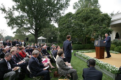 Addressing former president Bush as ABC News White House correspondent