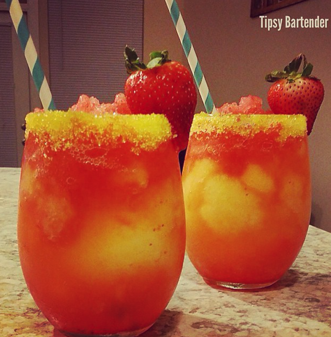 A peach and strawberry drink.