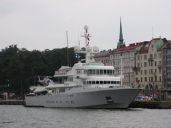 Page's superyacht 'Senses', docked in Helsinki