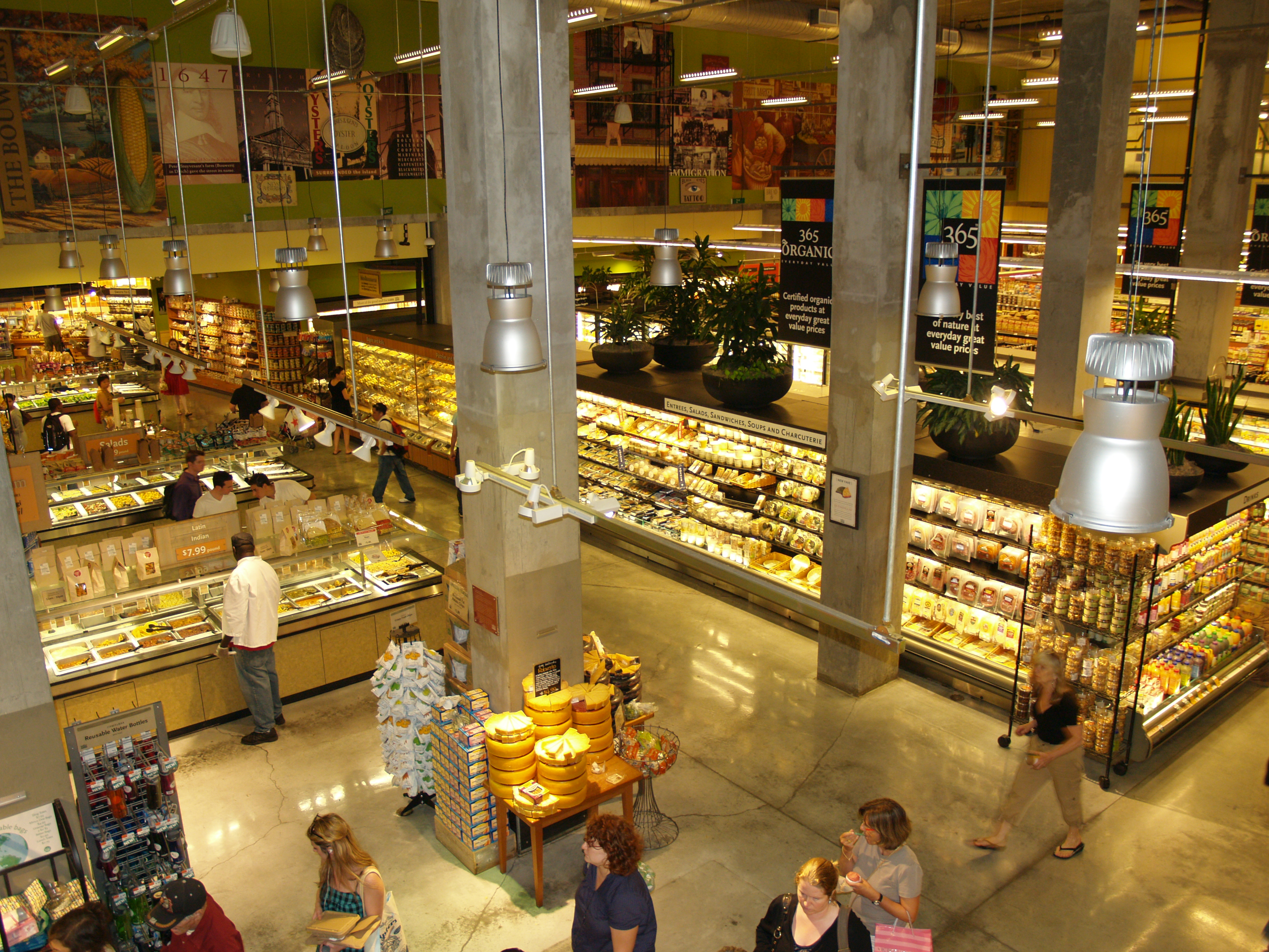 The Whole Foods Market on Bowery, in Manhattan, is the largest grocery store in New York City.[2]
