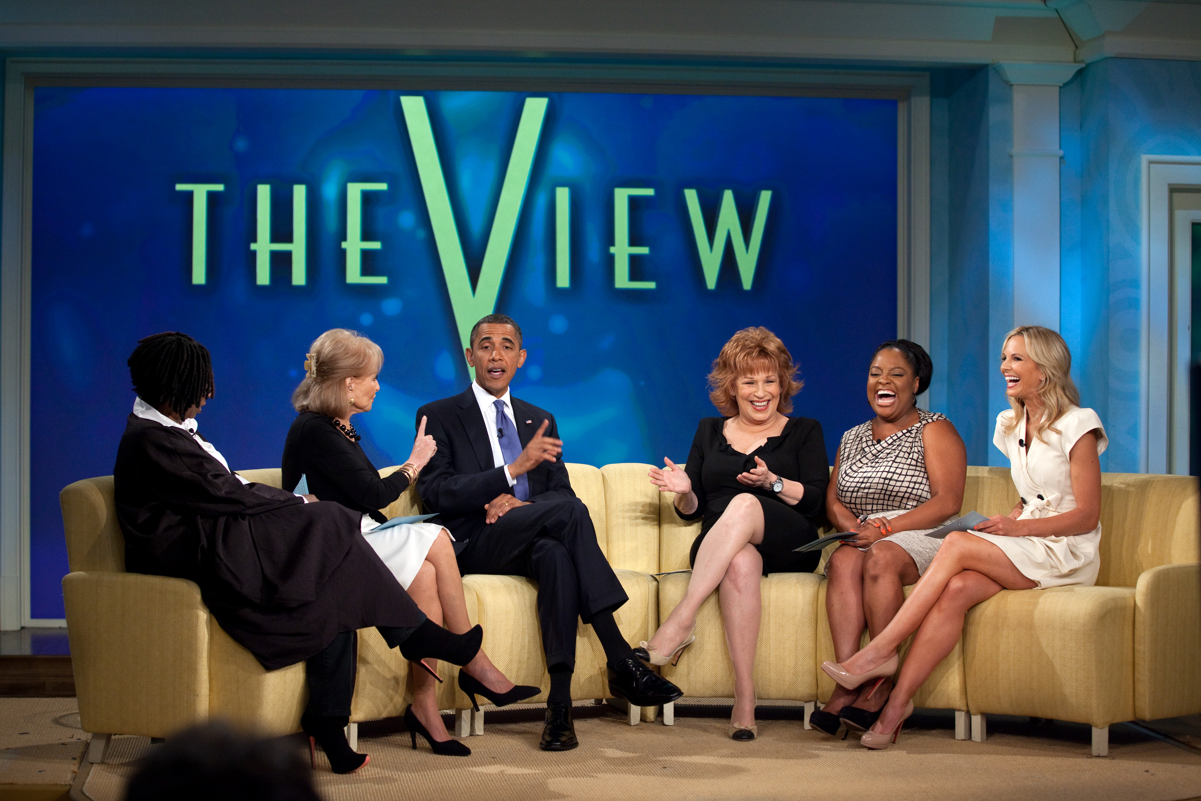 The View's panel (left–right Whoopi Goldberg, Barbara Walters, Joy Behar, Sherri Shepherd, and Elisabeth Hasselbeck) interview Barack Obama on July 29, 2010